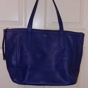 Fossil Womens Blue Leather Bag